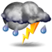 Partly cloudy with thunderstorms